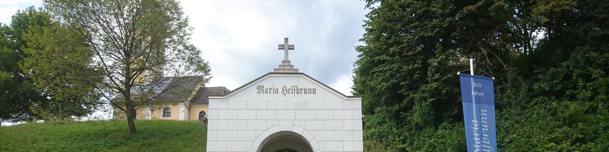 Panorama von Heilquelle und Wallfahrtskirche Maria Helfbrunn